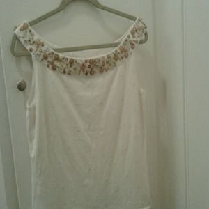 Scoop Neck Wood Button Sweater Tank by Peck & Peck